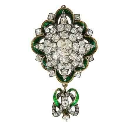 鑽石 琺瑯彩 銀 & 黃金胸針 (吊墜兼用)