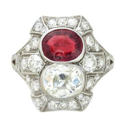 紅寶石 鑽石 鉑金戒指
