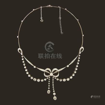 鑽石鉑金項鍊(胸針兼用)