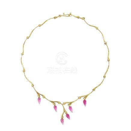 粉紅碧璽 黃金項鍊