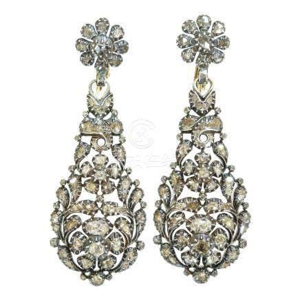 鑽石 銀 & 黃金耳環
