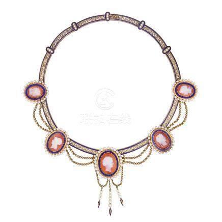 紅縞瑪瑙 珍珠 琺瑯彩 黃金項鍊