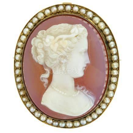 紅紋瑪瑙浮雕 & 珍珠吊墜(胸針兼用)