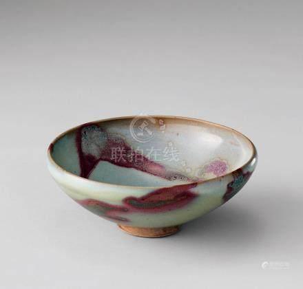 澱青釉紫紅斑碗