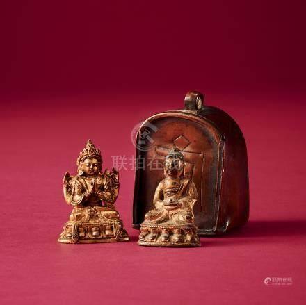銅鎏金釋迦牟尼及菩薩