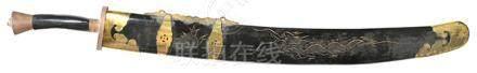 鋼刀連銅鑲木龍紋劍鞘