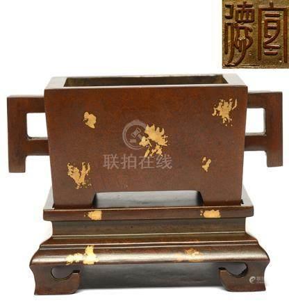 銅灑金雙耳方爐 - '宣德' 款 連銅座