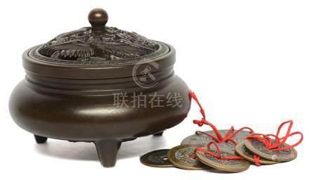 銅爐 連銅花錢六件 (共7件)