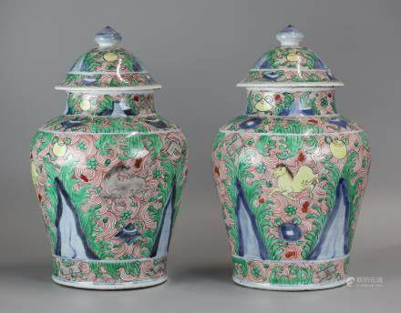 pair of Chinese cover jars, possibly Kangxi