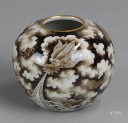 Chinese brown & black glazed porcelain jar