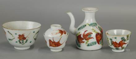 group of 4 Chinese porcelain wares w/ gold fish motif