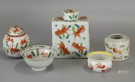 group of 5 Chinese porcelain wares w/ gold fish motif
