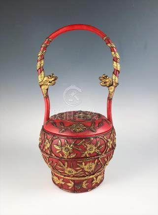 Antique Early 20c Gilded Red Lacquer & Wood Chinese Covered Basket FR3SH