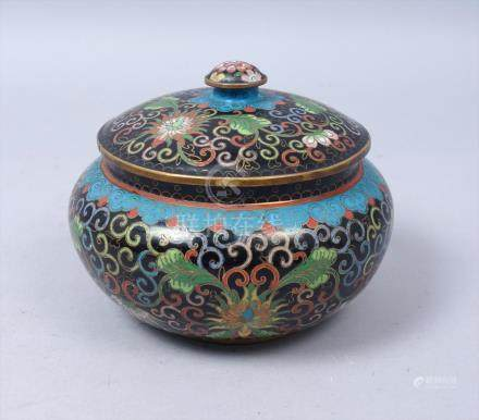 Antique Early 20c Chinese Floral Cloisonné Enamel Covered Humidor FR3SH
