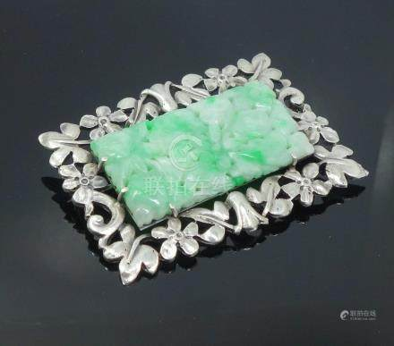 Antique Early 20c Chinese Export Silver Carved Jadeite Plaque Brooch Pin FR3SH