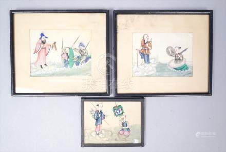 Antique At Least c1900 Group 3 Chinese Paintings on Rice Paper Mythological Scenes FR3SH