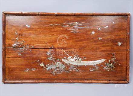 Estate Found Asian Hardwood MOP Inlay Decorative Waterscape Panel FR3SH