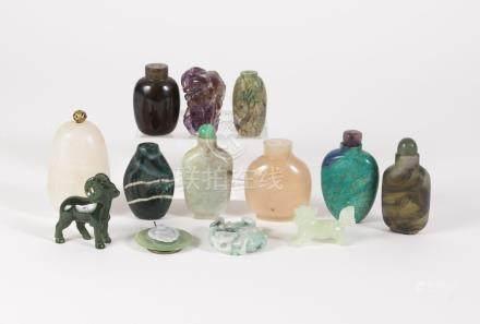Thirteen Hardstone Carvings and Snuff Bottles, 20th Century/Modern FR3SHLM