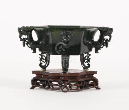 Chinese Dark Green Jade Octagonal Censer, 20th Century/Modern FR3SHLM