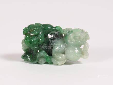 Chinese Carved Mottled Green Jadeite Figural Group of a Buddhistic Lions  FR3SHLM