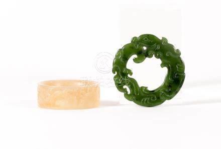 Two Chinese Green and Grey Jade Circular Carvings, Modern  FR3SHLM