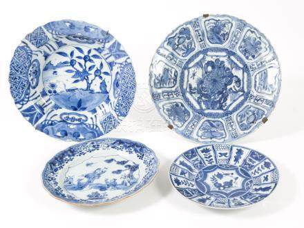 Two Chinese Kraak Porcelain Blue and White Chargers and Two Blue and White Dishes  FR3SHLM