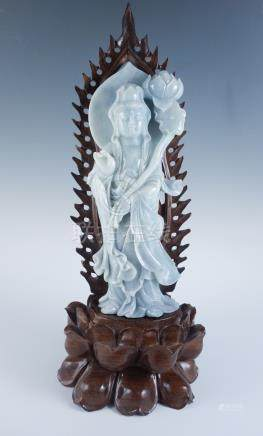 Estate Found Early 20c Carved Jadeite Goddess Statue w NGTC Certificate FR3SH