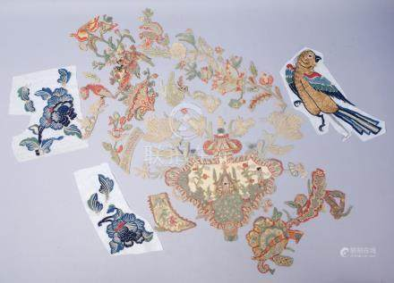 Estate Found Group Antique Chinese Embroidery Pieces incl Birds Flowers FR3SH