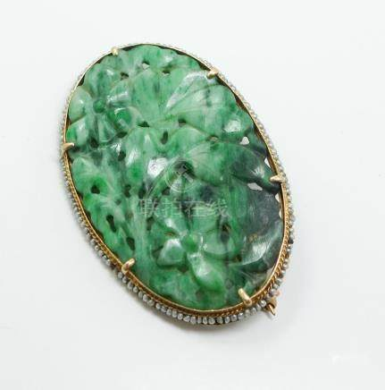 Estate Found Early 20c 14K Gold Carved Green Jadeite Seed Pearl Brooch FR3SH