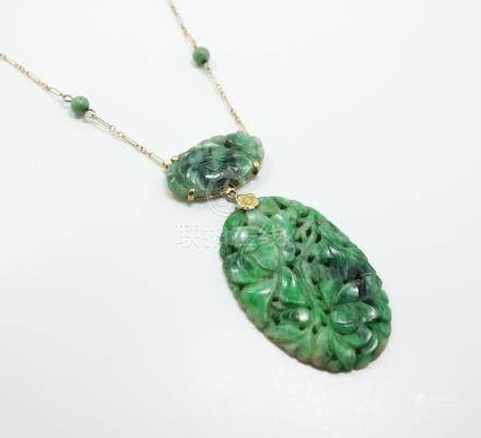 Estate Found Early 20c 14K Gold Carved Jadeite Pendant Necklace FR3SH