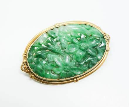 Estate Found Vintage Early 20c 14K Gold Carved Pierced Jadeite Brooch FR3SH