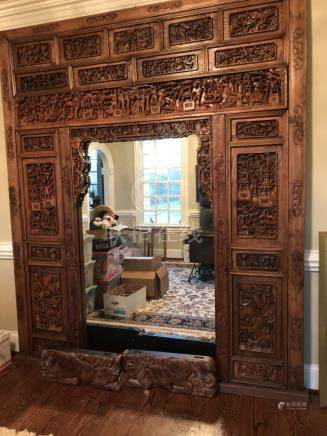 Chinese Carved in High Relief Wood Bed, 19th Century, A3WBF