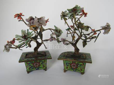 Small Chinese Cloisonne Planters with Jade and Hardstone Trees, Qing, A3WBW
