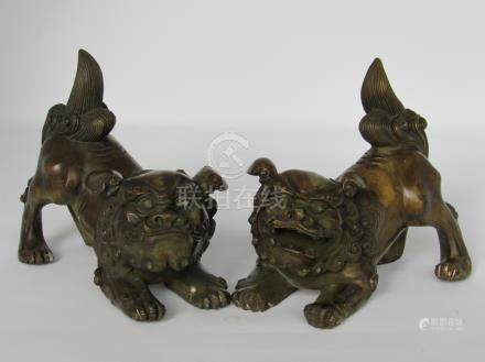 Pair Chinese Bronze Foo Dogs Buddhist Lions, 20th Century, A3WBB