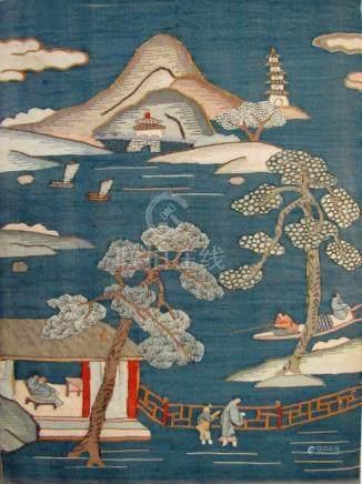 19th C Chinese Blue Kesi Kossu Silk Tapestry Panel, A3WBT