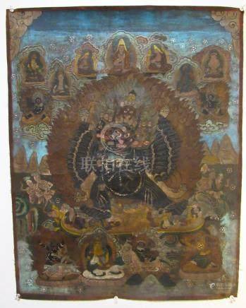 19th C Tibetan Thangka of Wrathful Deity, A3WBP