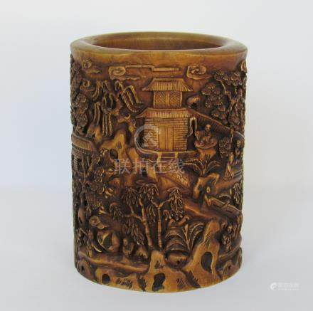 Modern Chinese Carved Wood Brushpot by Shuyuan Zhang, A3WBW