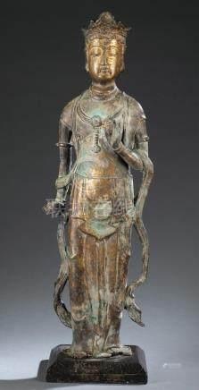 Gilt bronze Bodhisattva statue.  A3WBB