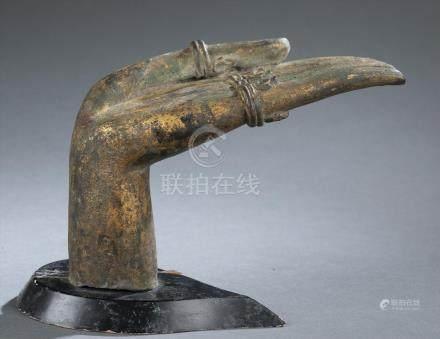 Gilt bronze Buddha hand statue.  A3WBB