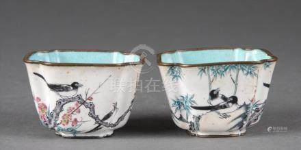 Pair of enameled cups.  A3WBW