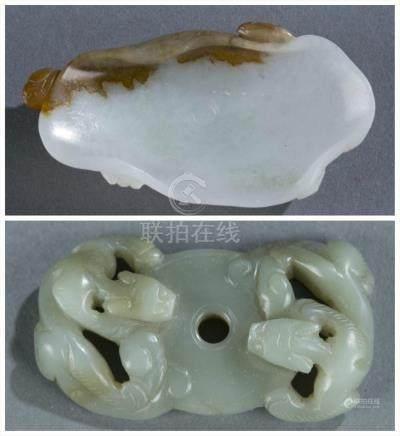 2 Carved jade pieces.  A3WBJ