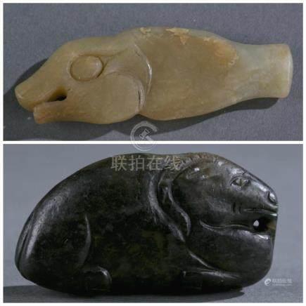2 Archaic jade pendants.  A3WBJ