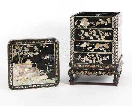 Korean Mother of Pearl and Lacquer Four Tiered Box, Joseon Dynasty or later A3WAK