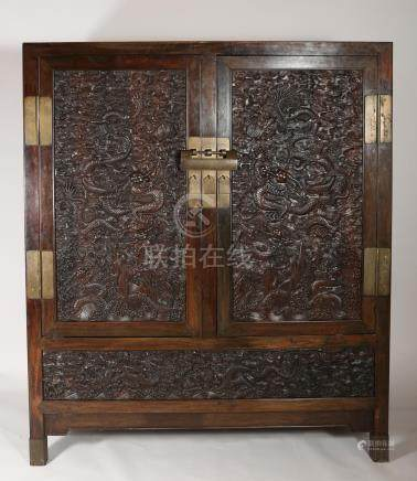 Imperial Chinese Zitan Dragon Cabinet, Mid-Qing Dynasty and Later  A3WAF