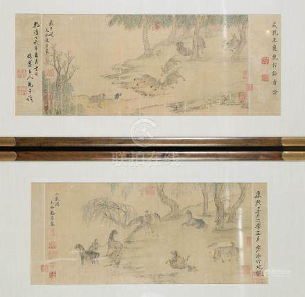 Two Chinese Colored Ink on Silk Paintings After Chao Yung A3WAP