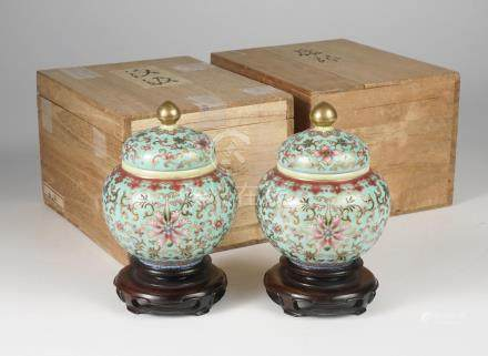 Pair of Famille Rose Gilt and Enamel Decorated Covered Jars, Qianlong Mark, Republic Period  A3WAC