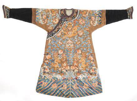 Chinese Embroidered Brown Silk Dragon Court Robe, Guangxu Period A3WAT