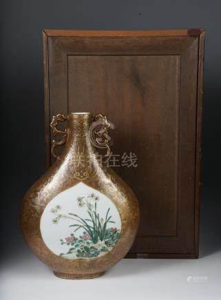 Chinese Cafe au Lait Ground Famille Rose Pilgrim Flask, Qianlong Mark, Republic Period  A3WAC