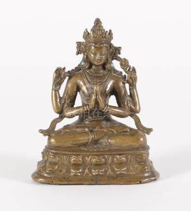 Tibetan Bronze Four Armed Figure of a Bodhisattva, 14th-16th Century A3WAB