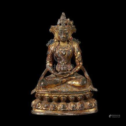 A Chinese lacquered copper alloy of Buddha Amitayus, qing dy